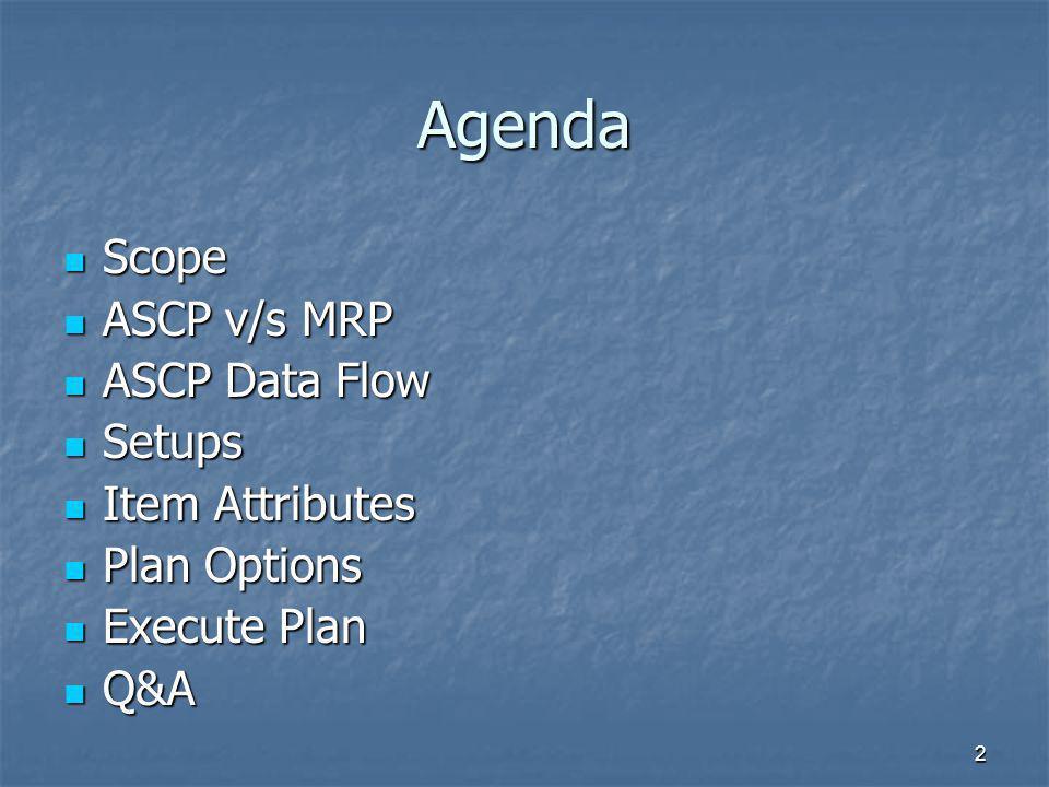 Agenda Scope ASCP v/s MRP ASCP Data Flow Setups Item Attributes