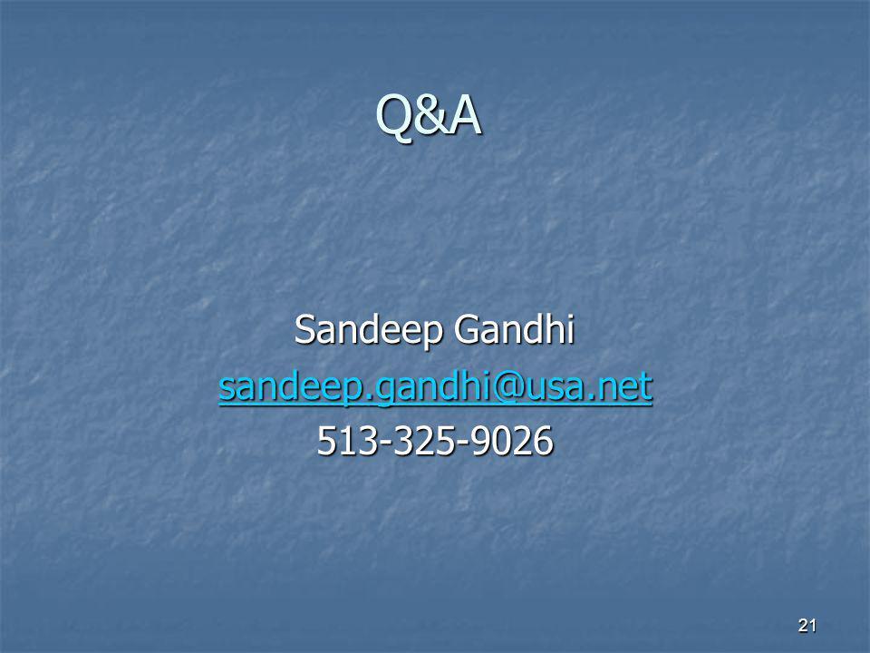 Q&A Sandeep Gandhi sandeep.gandhi@usa.net 513-325-9026