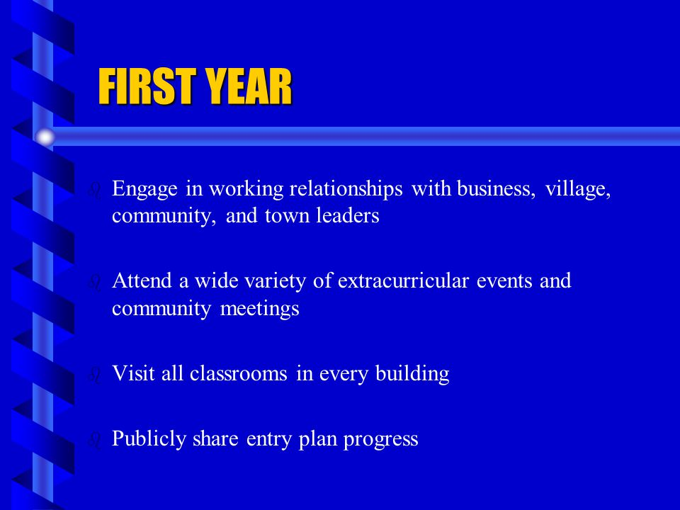 FIRST YEAR Engage in working relationships with business, village, community, and town leaders.