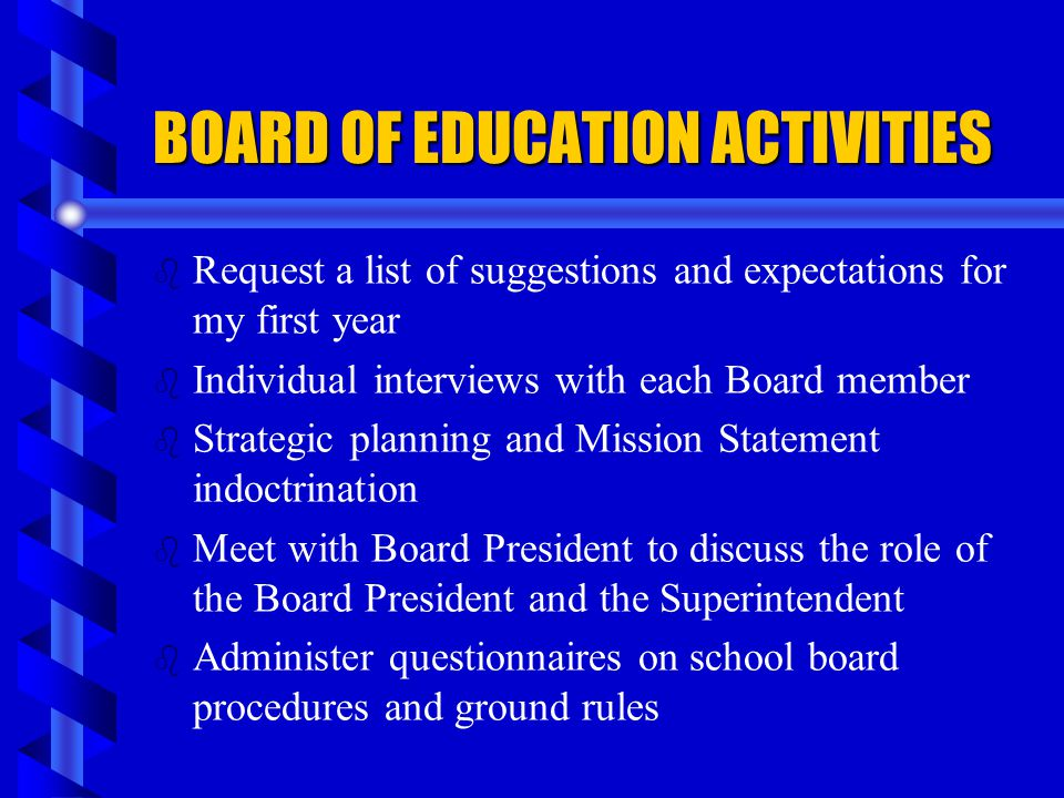 BOARD OF EDUCATION ACTIVITIES