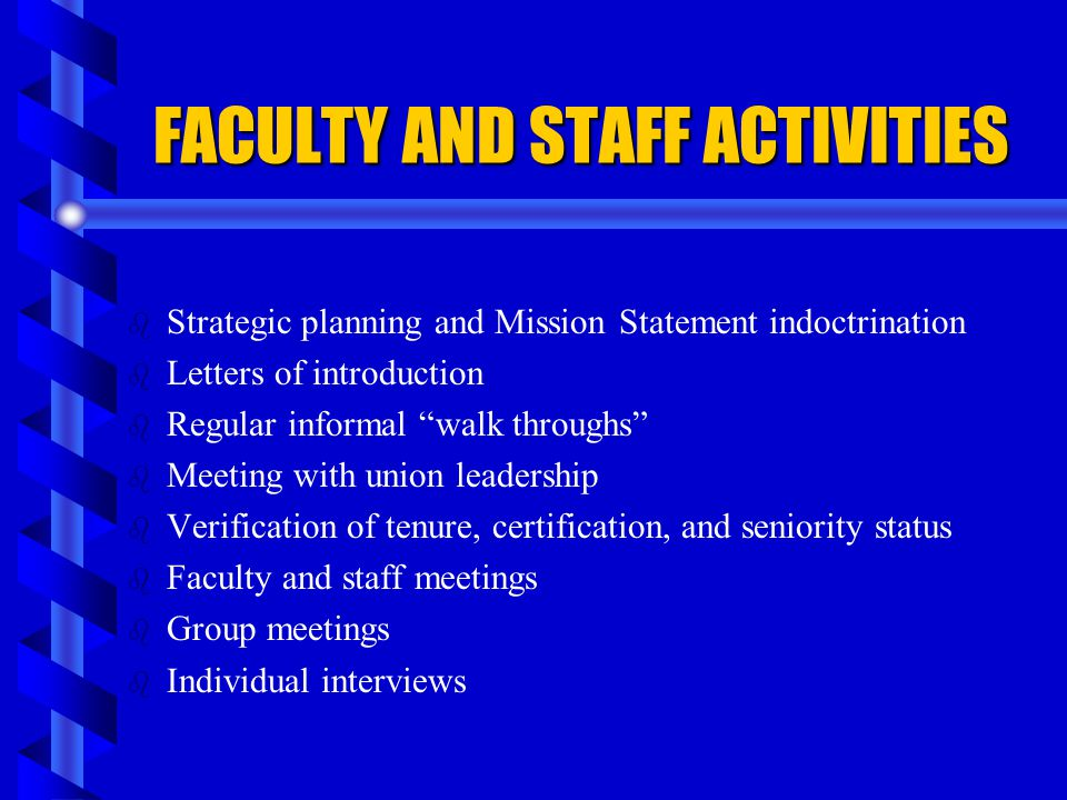 FACULTY AND STAFF ACTIVITIES