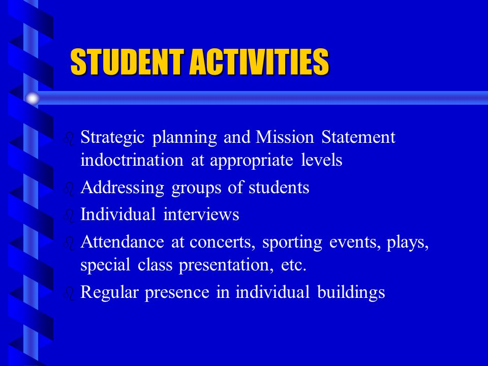 STUDENT ACTIVITIES Strategic planning and Mission Statement indoctrination at appropriate levels. Addressing groups of students.