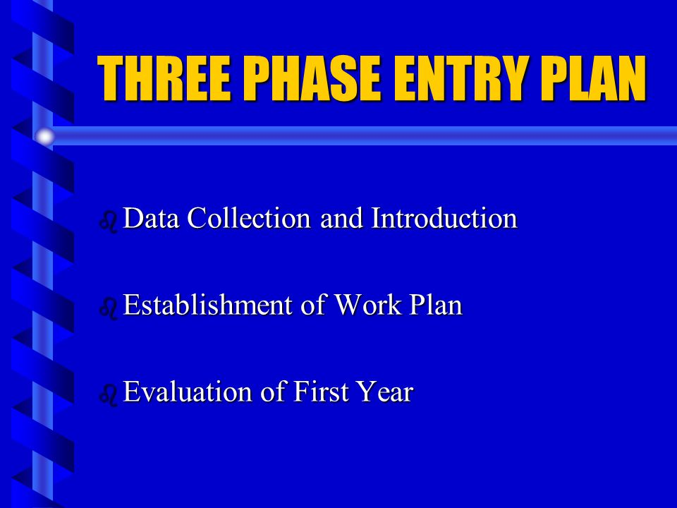 THREE PHASE ENTRY PLAN Data Collection and Introduction