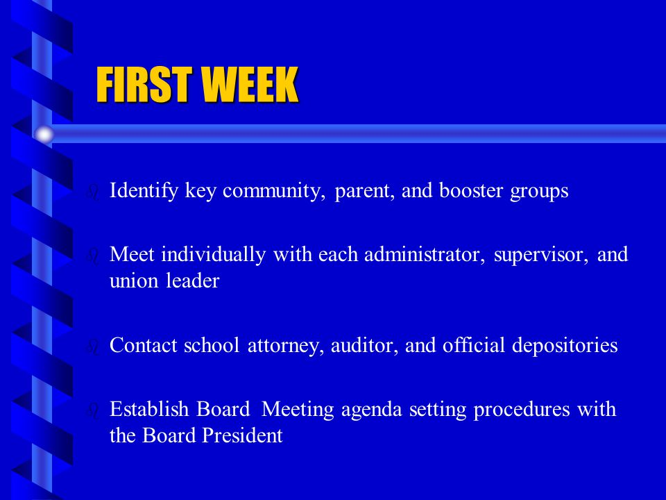 FIRST WEEK Identify key community, parent, and booster groups