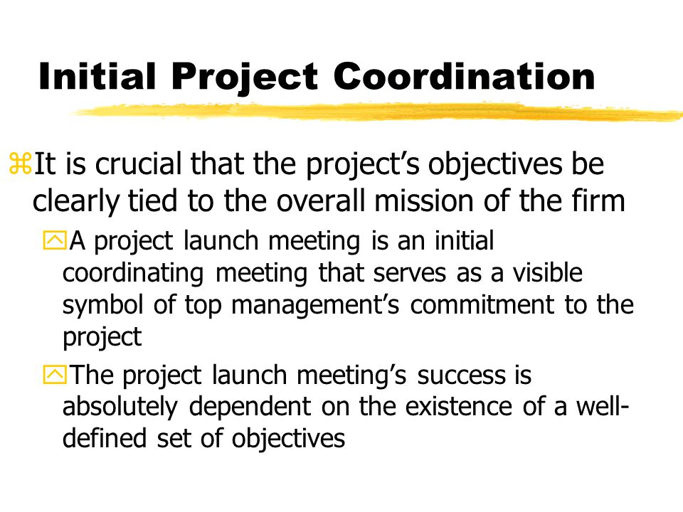 Initial Project Coordination