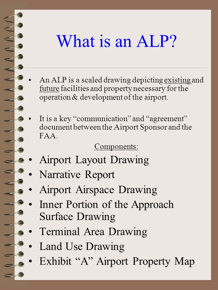 What is an ALP Airport Layout Drawing Narrative Report