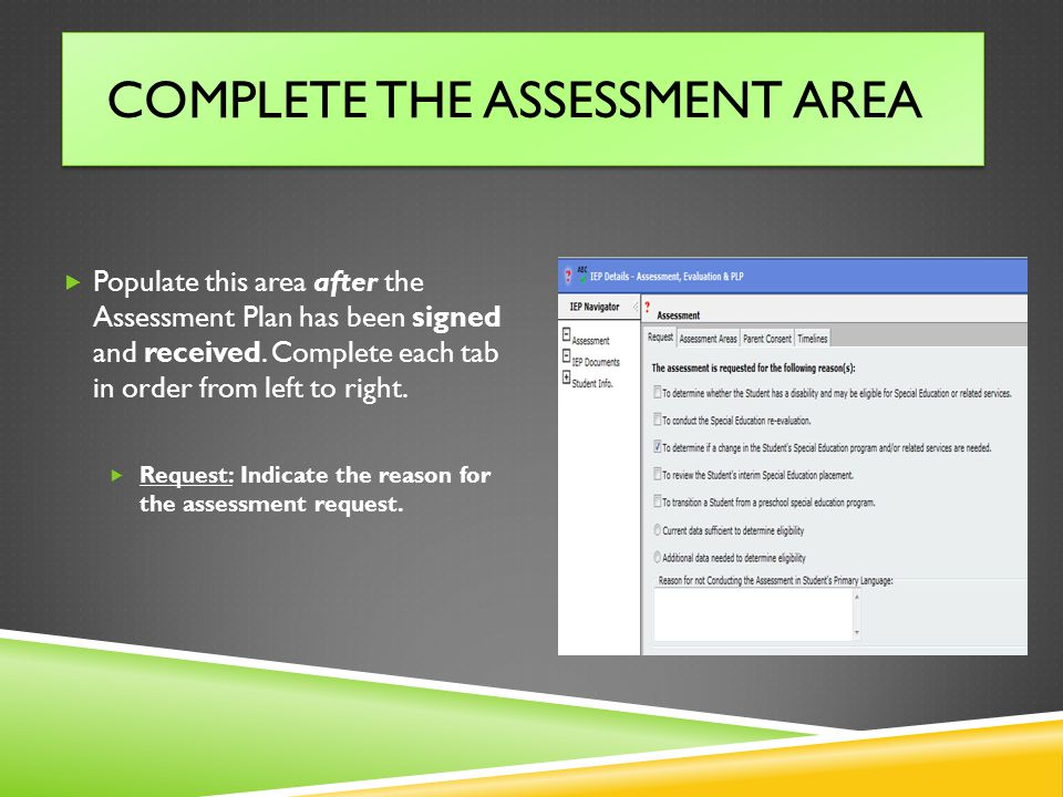 Complete the Assessment Area
