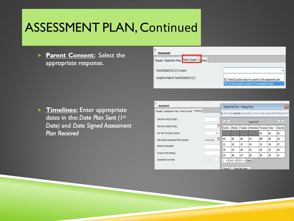 ASSESSMENT PLAN, Continued