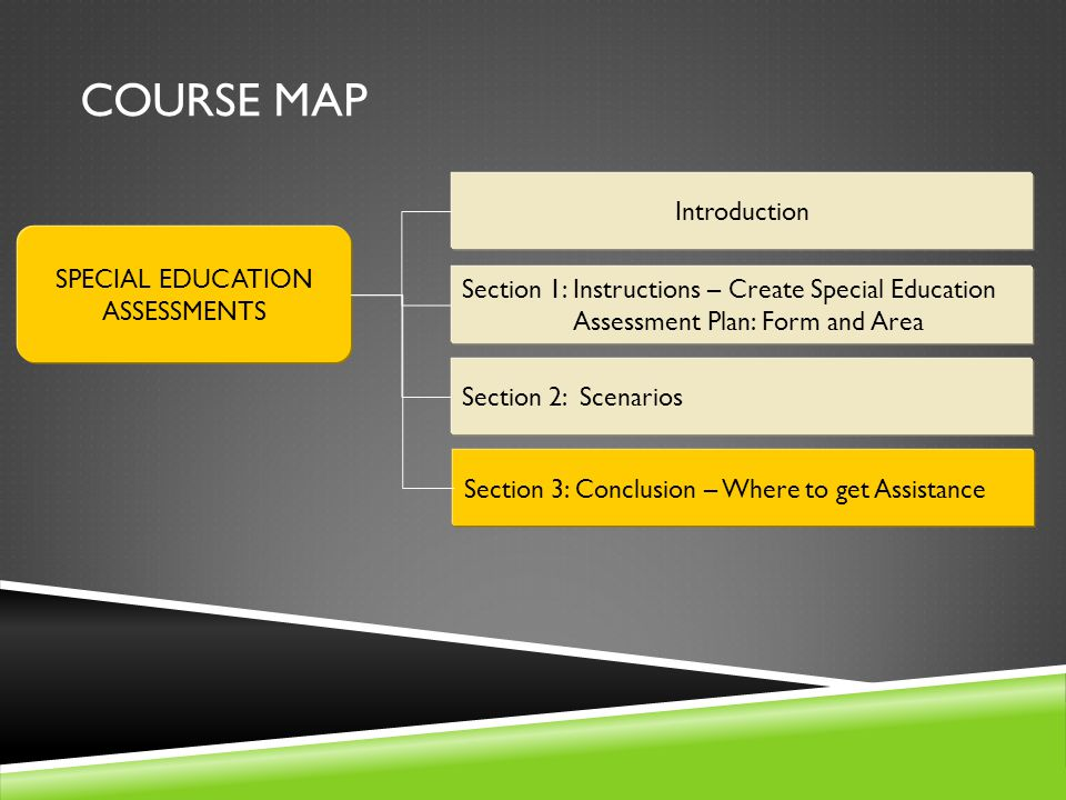 Course Map Introduction SPECIAL EDUCATION ASSESSMENTS