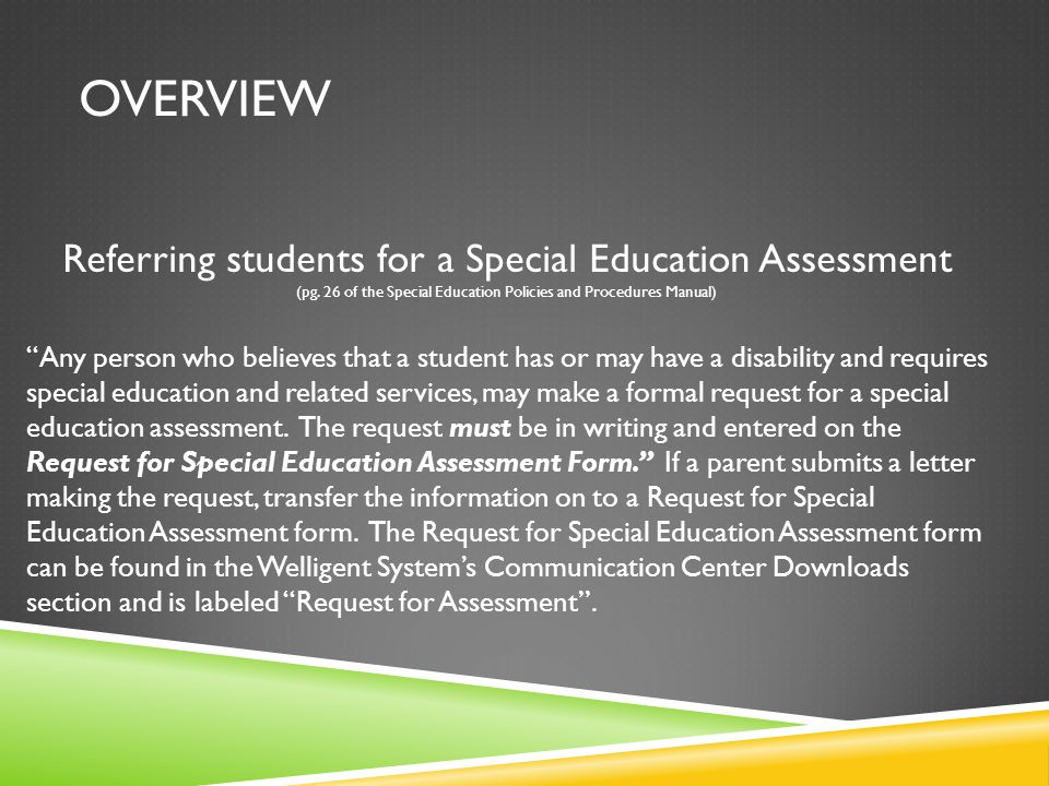 Overview Referring students for a Special Education Assessment