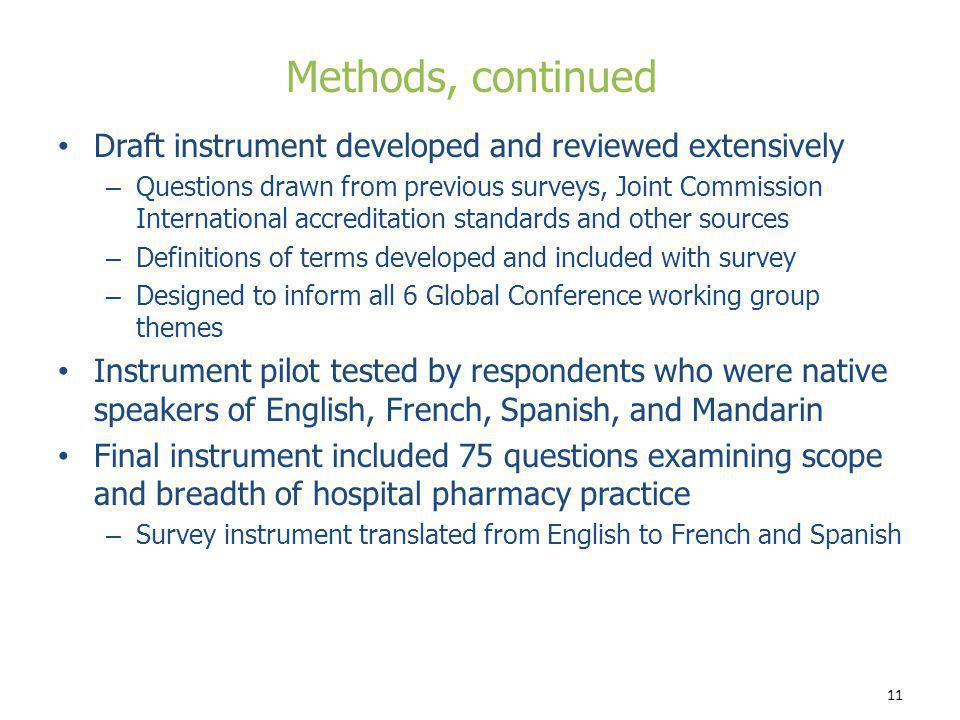 Methods, continued Draft instrument developed and reviewed extensively