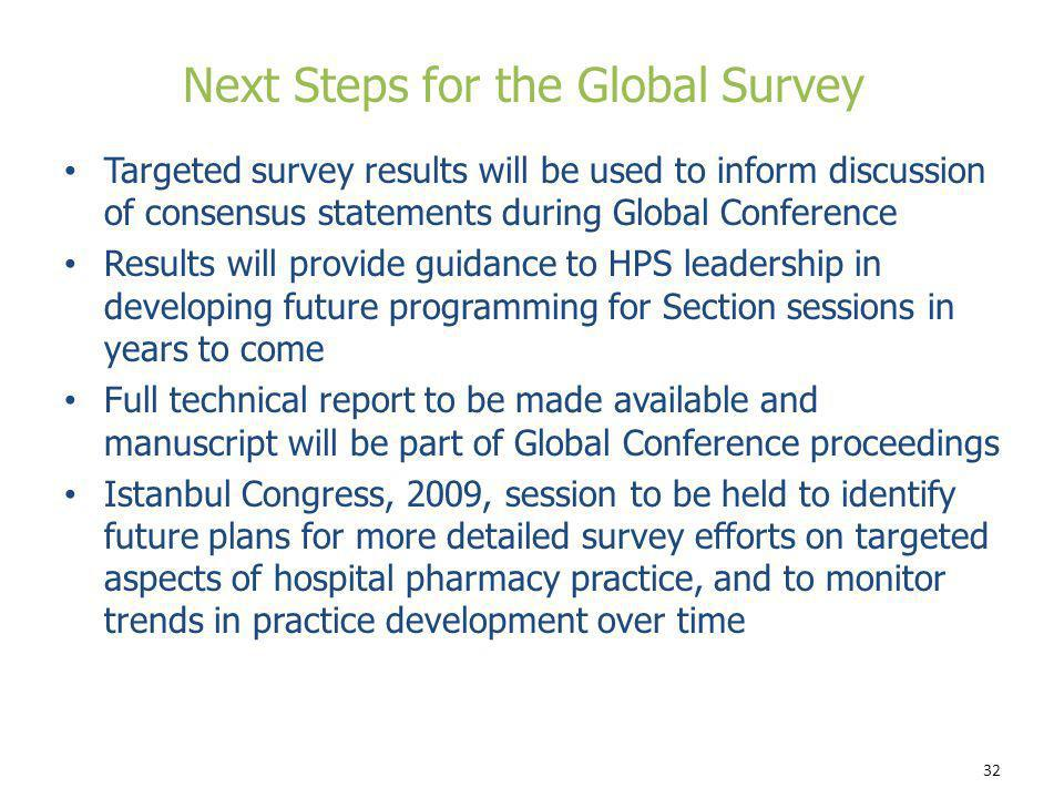 Next Steps for the Global Survey