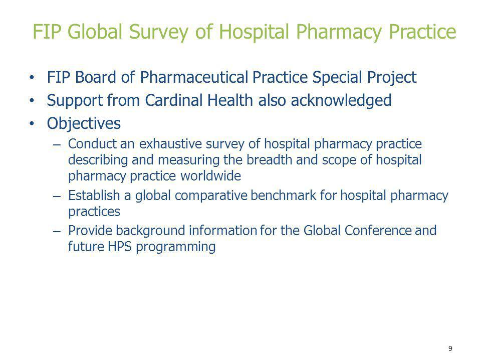 FIP Global Survey of Hospital Pharmacy Practice