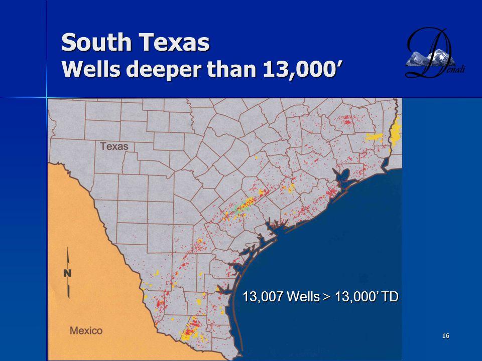 South Texas Wells deeper than 13,000'