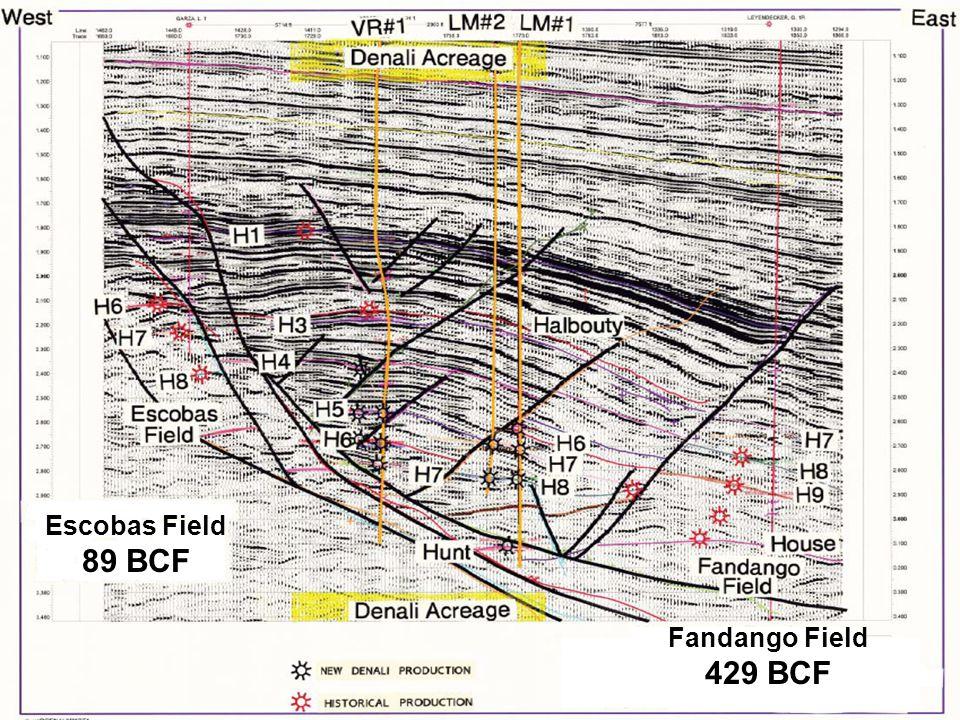Escobas Field 89 BCF Fandango Field 429 BCF