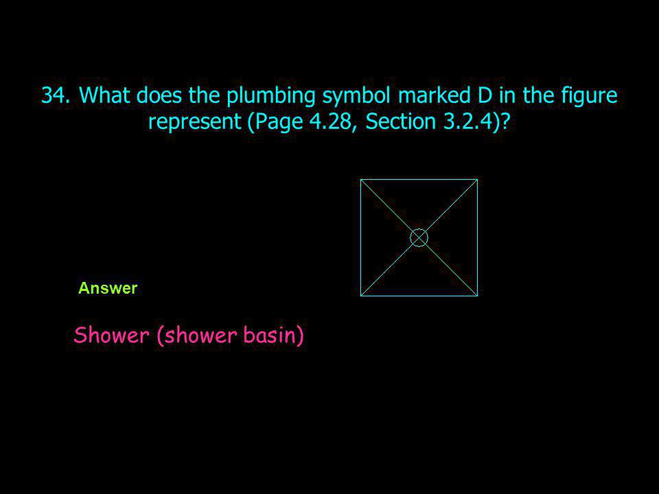 34. What does the plumbing symbol marked D in the figure represent (Page 4.28, Section 3.2.4)