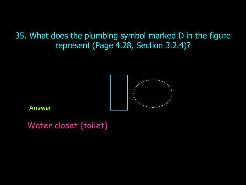 35. What does the plumbing symbol marked D in the figure represent (Page 4.28, Section 3.2.4)