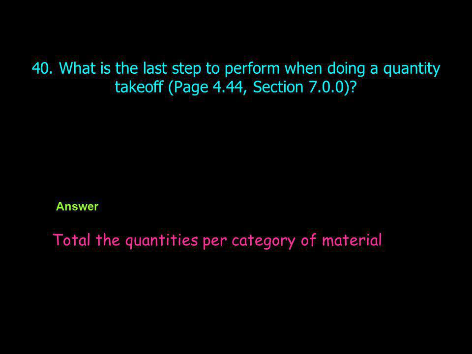 Total the quantities per category of material