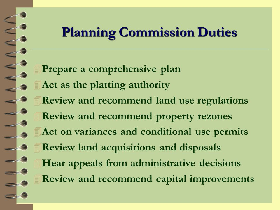 Planning Commission Duties