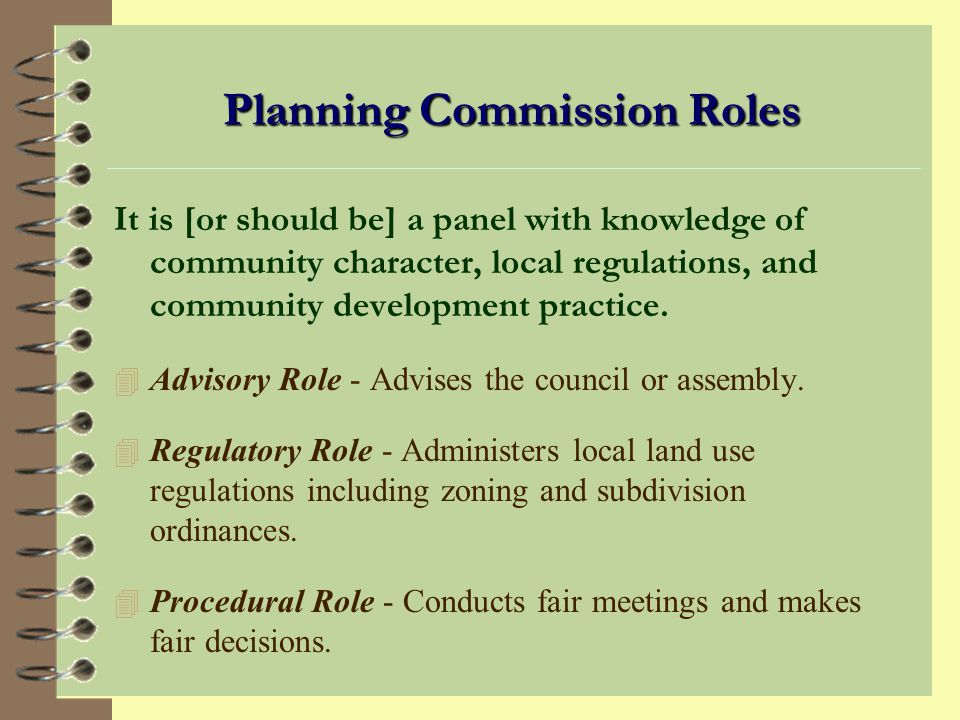 Planning Commission Roles