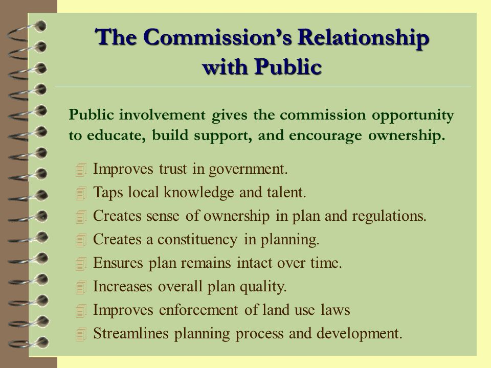 The Commission's Relationship with Public