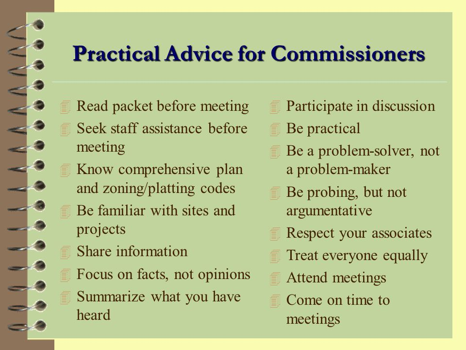 Practical Advice for Commissioners