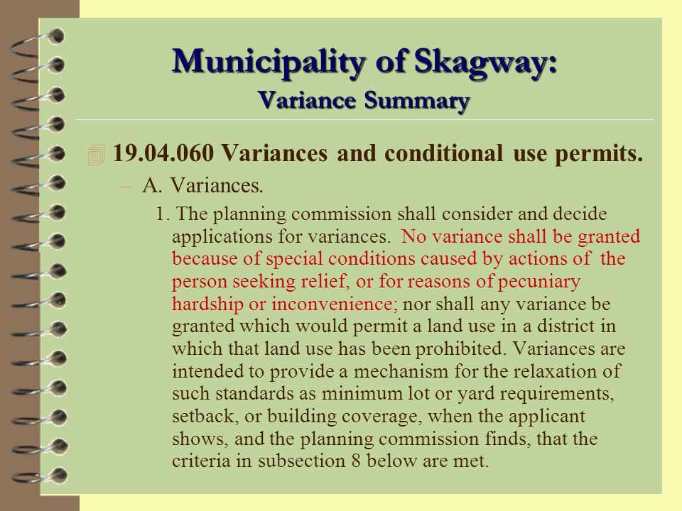 Municipality of Skagway: Variance Summary