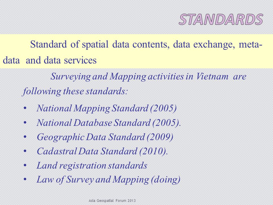 Standards Standard of spatial data contents, data exchange, meta- data and data services.