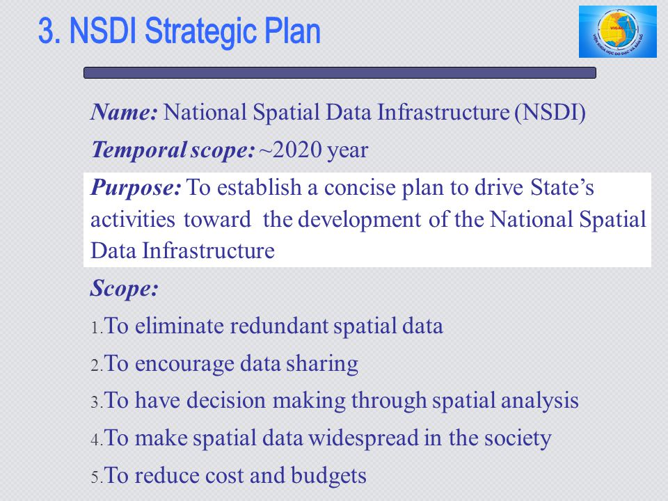 3. NSDI Strategic Plan Name: National Spatial Data Infrastructure (NSDI) Temporal scope: ~2020 year.