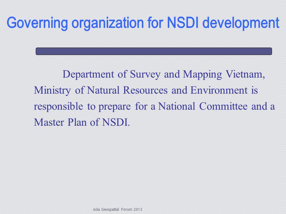 Governing organization for NSDI development