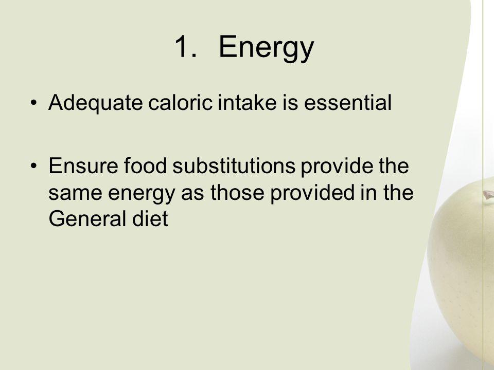 Energy Adequate caloric intake is essential