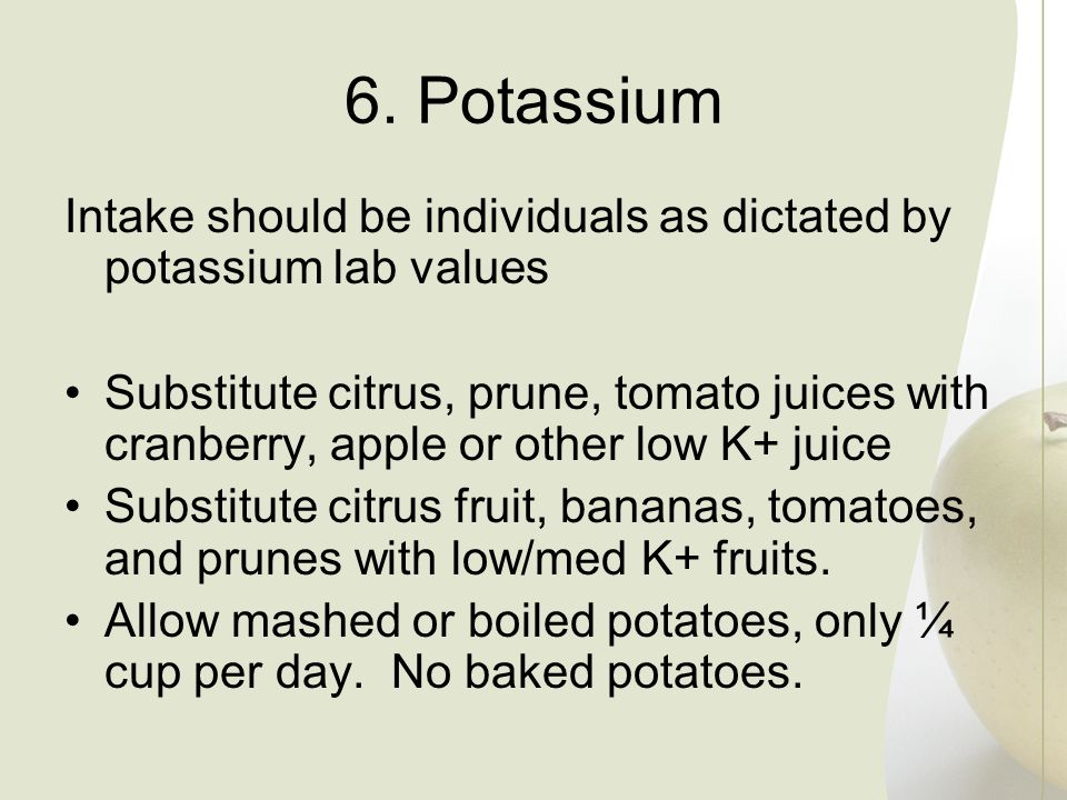 6. Potassium Intake should be individuals as dictated by potassium lab values.