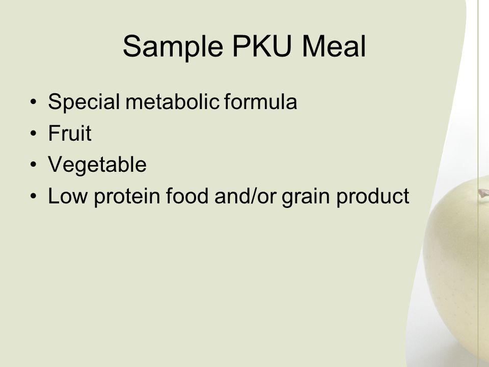 Sample PKU Meal Special metabolic formula Fruit Vegetable