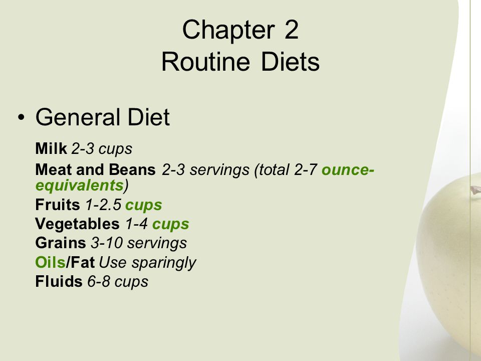 Chapter 2 Routine Diets General Diet Milk 2-3 cups