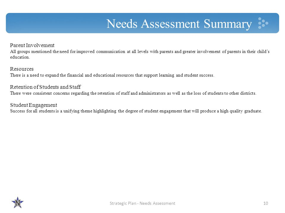 Needs Assessment Summary