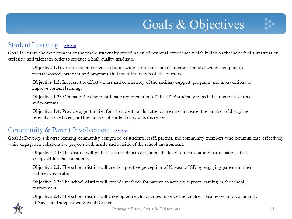 Strategic Plan - Goals & Objectives