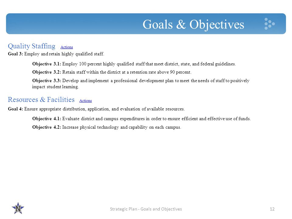 Strategic Plan - Goals and Objectives