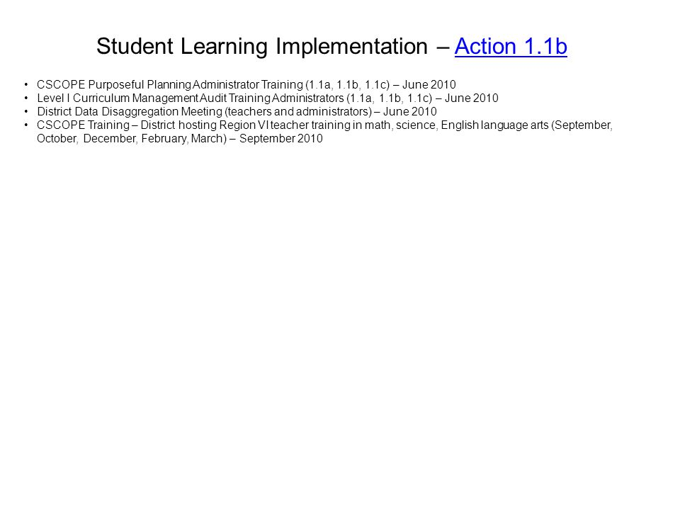 Student Learning Implementation – Action 1.1b