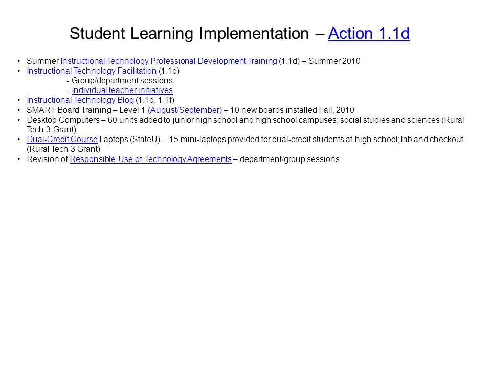 Student Learning Implementation – Action 1.1d