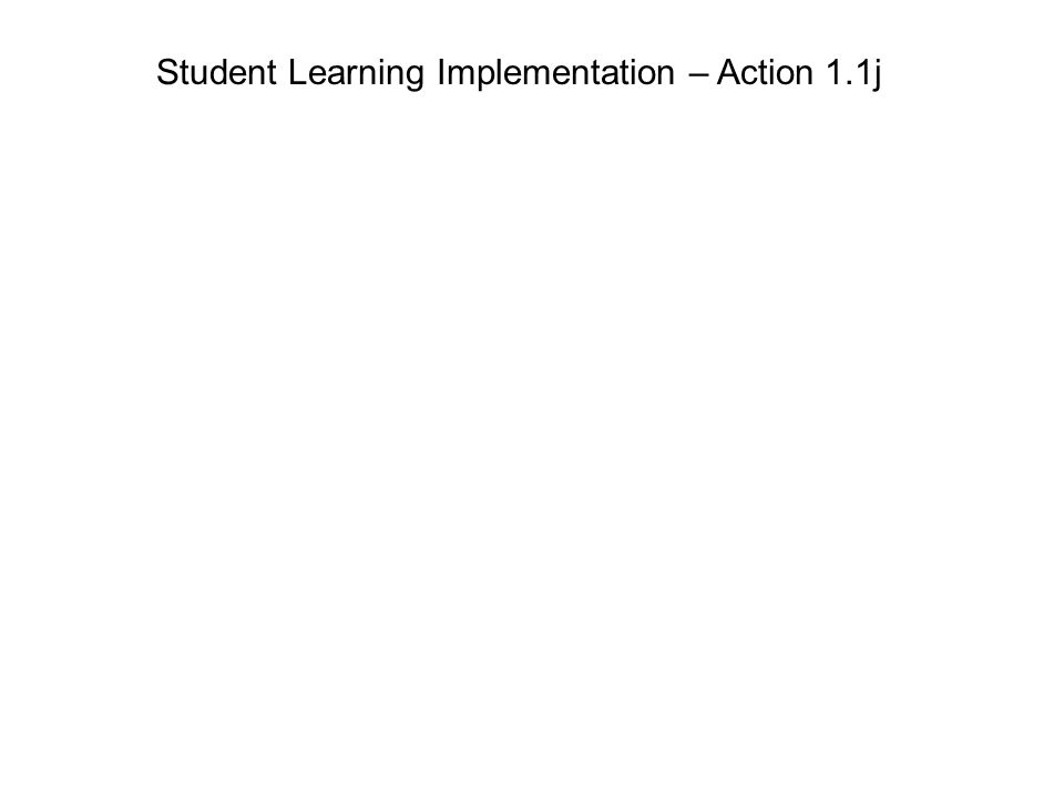 Student Learning Implementation – Action 1.1j