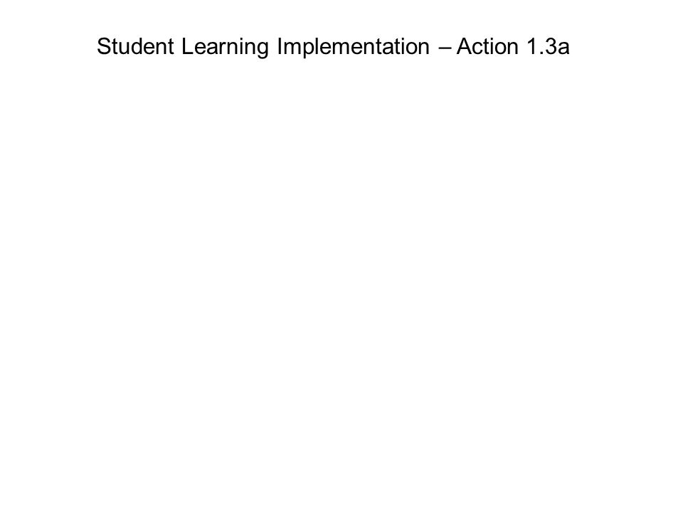 Student Learning Implementation – Action 1.3a