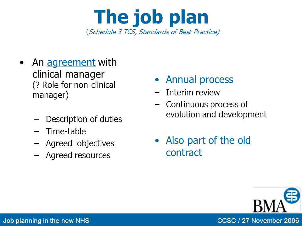 The job plan (Schedule 3 TCS, Standards of Best Practice)