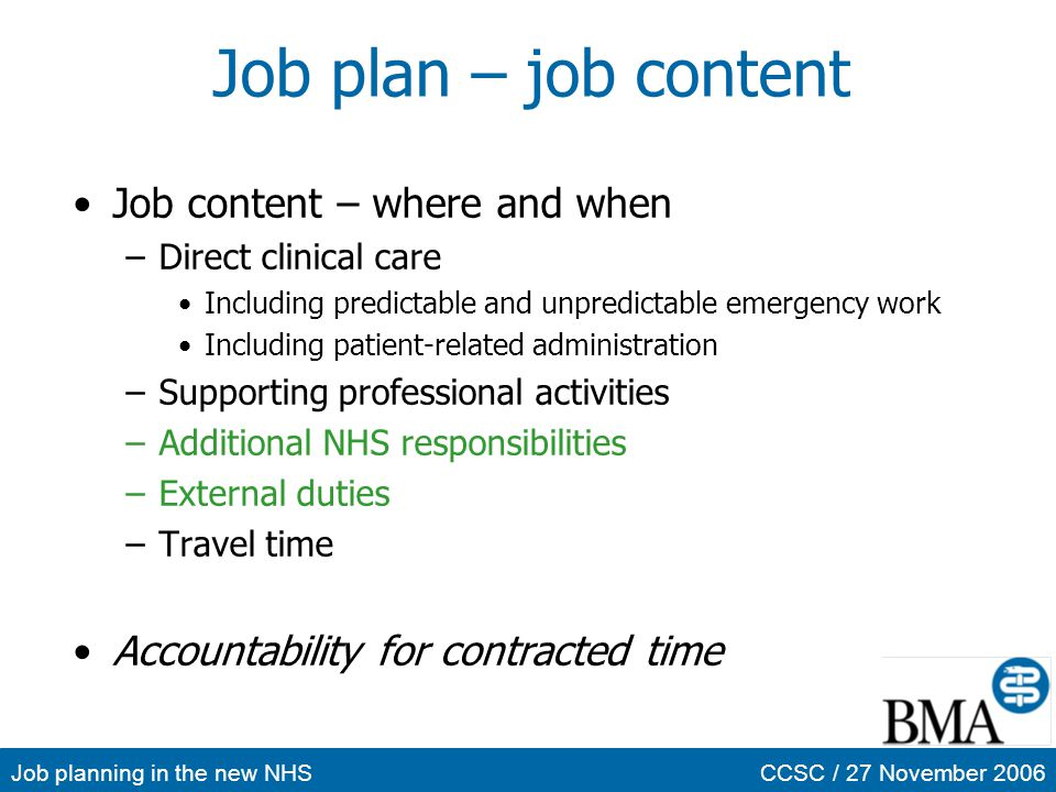 Job plan – job content Job content – where and when