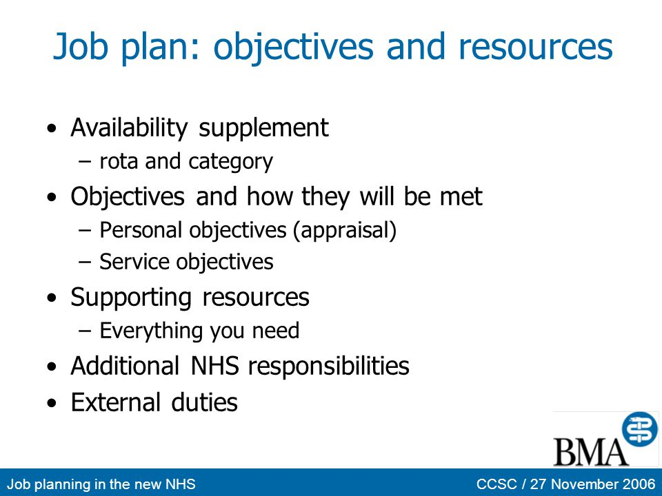 Job plan: objectives and resources