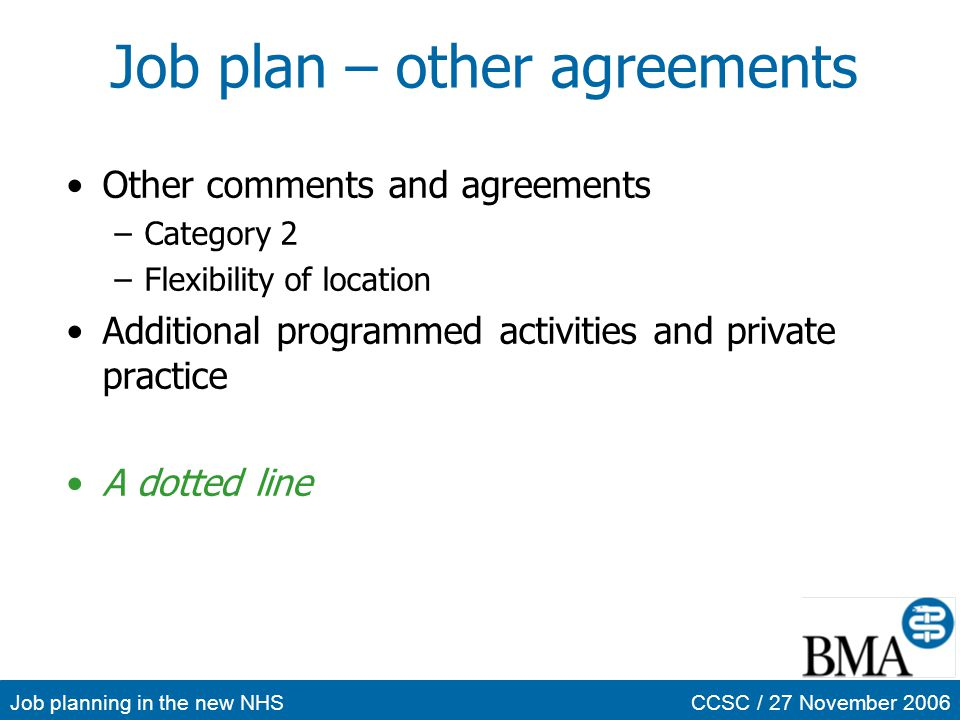 Job plan – other agreements