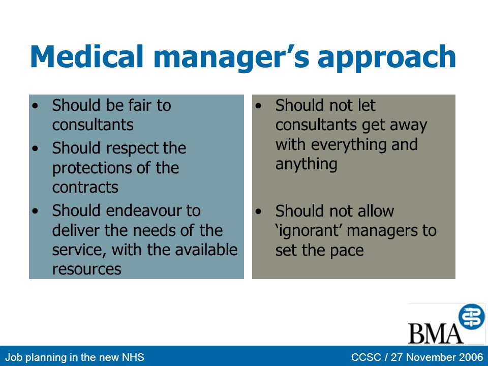 Medical manager's approach