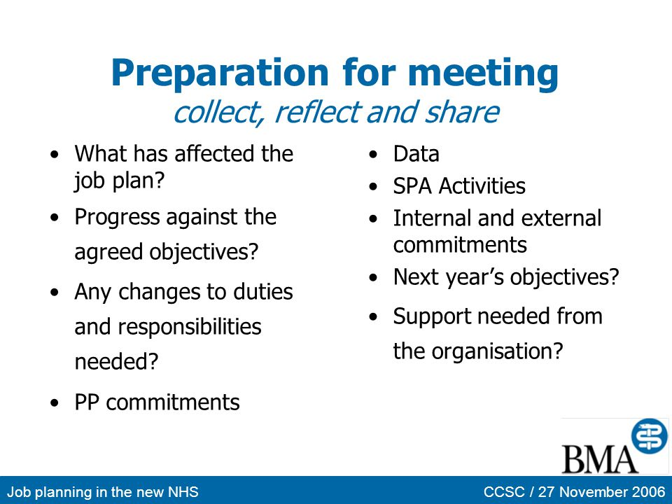 Preparation for meeting collect, reflect and share