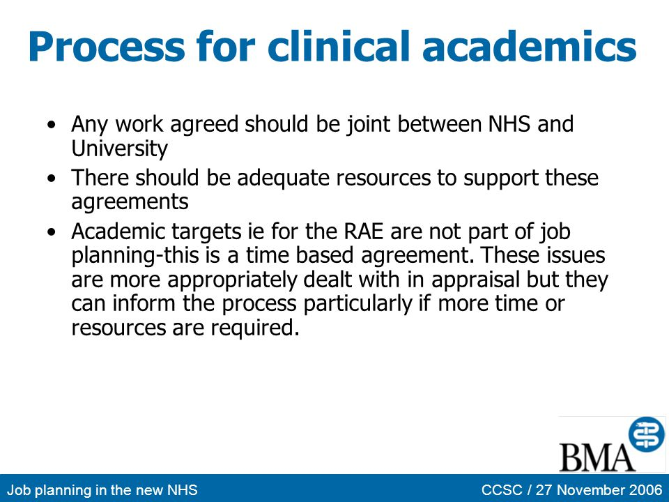 Process for clinical academics