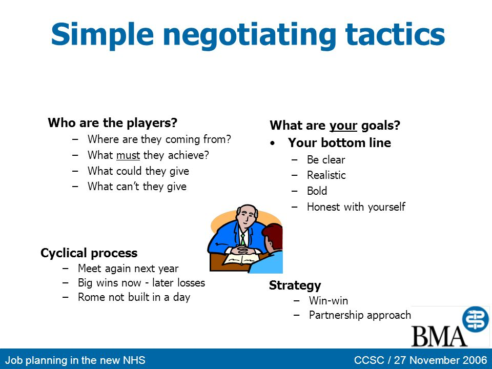 Simple negotiating tactics