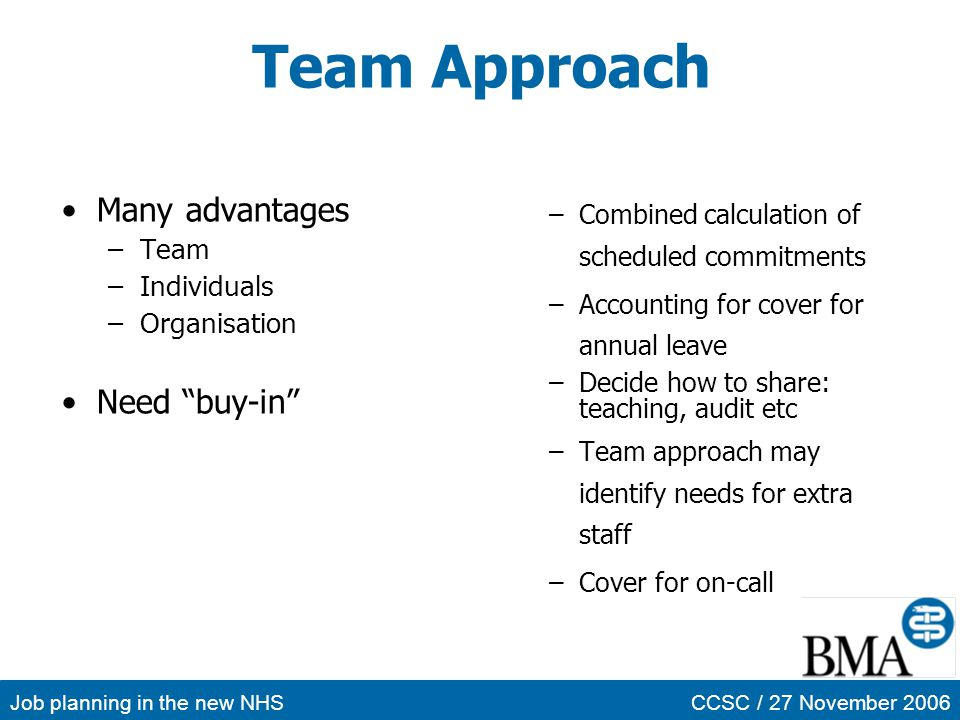 Team Approach Many advantages Need buy-in Team Individuals